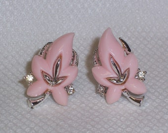 Vintage Signed Earrings with Pink Plastic Leaves - Clip Ons