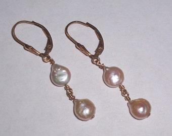 Handmade Freshwater Coin Pearl Earrings - Pierced