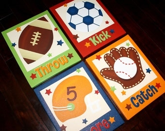 Set of 4 Lil MVP Sports Boys Bedroom 8x10 Stretched Canvases Kids Playroom Baby Nursery CANVAS Bedroom Wall Art