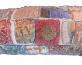 Felt zipper pouch - embroidery and silk fabric