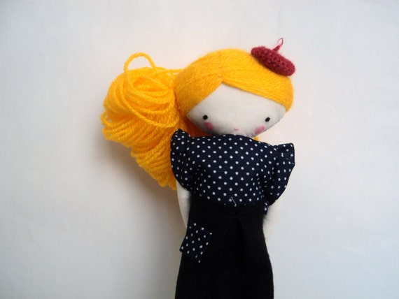 Pipi, rag doll - cloth art rag doll with beret black skirt polka dots shirt