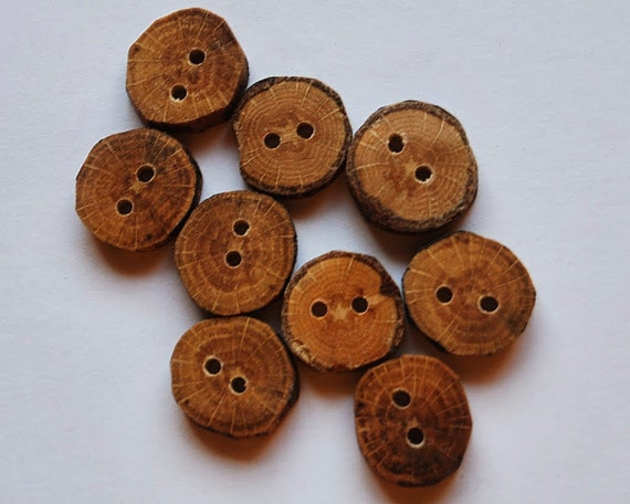 Small rustic wooden tree branch buttons oak wood set of