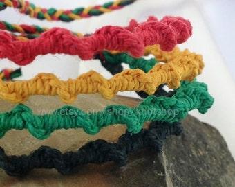 Hemp bracelet or anklet - macrame jewelry - Rasta design  - 4 strand - Rastafarian - Adjustable - 6 to 9 Inches