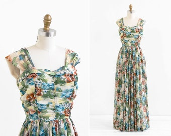vintage 1940s dress / 40s evening gown / Floral Silk Chiffon Grecian Gown
