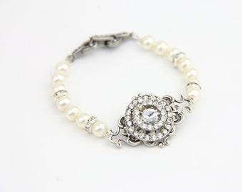 Pearl Bracelet , Wedding Pearl Bracelet , Single Strand Rhinestone Crystal Pearl Cuff Bridal Bracelet , Wedding Jewelry, Bridal Jewelry