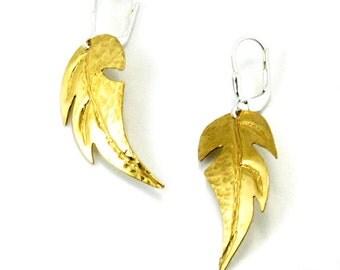 Brass Earrings, Dangle Earrings, Golden Earrings, Leaf Earrings, Anniversary Gift, Gift Under 50