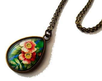 Tropical Flower Pendant Necklace