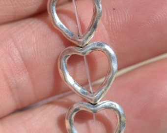 12 Silver Plated Heart 14mm Beads BD407