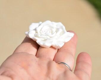 1 White Resin Flower Cabochons 48mm F230