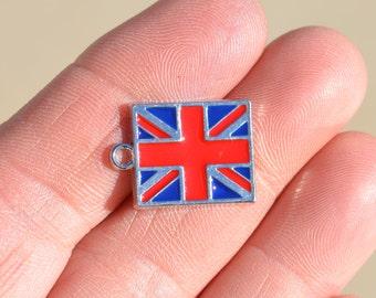 5 Silver and Enamel  Royal Union  Flag Charms SC2814