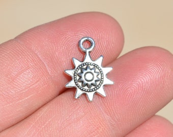 10  Silver Sun Charms SC2952