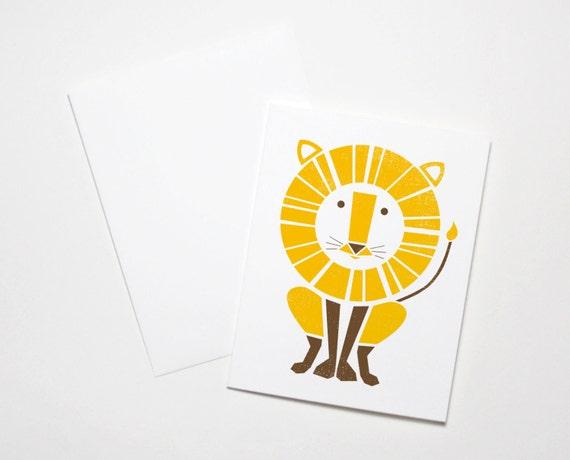 Lion Card, Greeting Card, Screenprinted