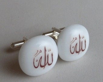 Allah Cufflinks - Fused glass