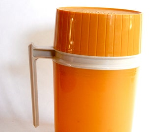 Vintage Thermos, 10 oz, Mid Century, Camping, Orange and Tan