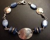Blue Kyanite and Artisan Sterling Silver Bracelet