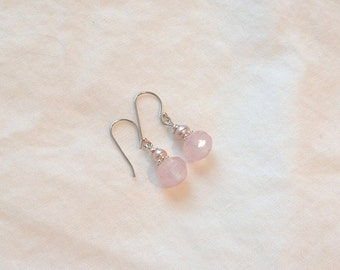 Pink and White Faceted Czech Glass and Mauve Freshwater Pearl Earrings on Sterling Silver