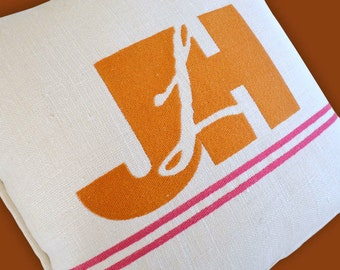 monogram embroidered pillow with logo custom design corporate logo any color any size