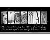 FIREMAN  Inspirational Plaque black & white letter art