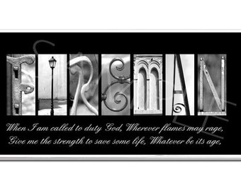 FIREMAN  Inspirational Plaque black & white letter art