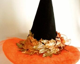 Harvest Moon Witch Hat, Orange, Black Velvet and Tulle, Small