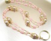 Beaded Lanyard - Rose Swarovski Crystal Pearl Badge Lanyard, Necklace, Beaded ID Lanyard, Badge Holder