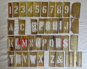 "vintage brass stencil kit in original wood box, ""Stencil Outfit"" (no. 1)"