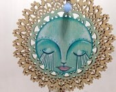 Mixed Media Hand Painted Turquoise Divine Face RESERVED for WINK