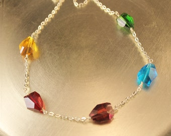 Carnivale Viareggio Multicolor Quartz Nugget Necklace with Silver Tone Chain and Silver Plated Lobster Clasp