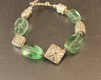 The Delectable Green Flourite Nugget and Bali Sterling Silver Bracelet - Clear Green Stones and Sterling Silver Beads