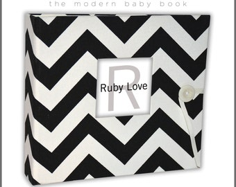 Black Chevron Stripe Baby Book - Ruby Love Modern Baby Memory Book