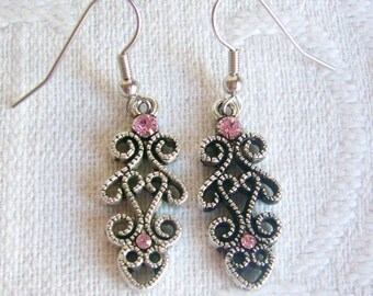 Swarovski Antiqued Silver Filigree Heart Scroll Earrings with Pink Crystals