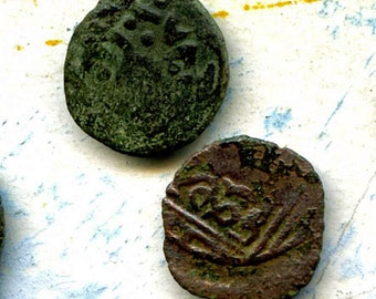 2 UNCLEANED coins from a dig,antique objects, something  curious, antique metal coin, coolvintage, collectibles, patina, old, age, 18K