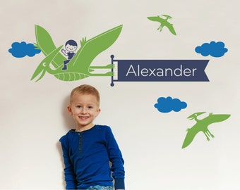 Dinosaur Name Wall Decal Boy Pterodactyl Personalized Banner Dino Theme Baby Nursery Wall Art Room Decor