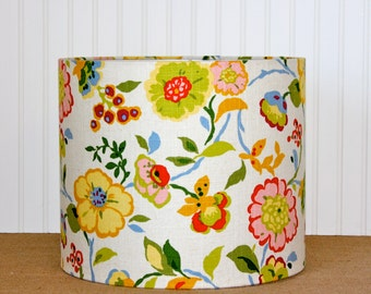 Floral Drum Lamp Shade - Linen - Cottage Style - Lampshade - Multi Colored - Modern - Medium - Sassyshades - Custom