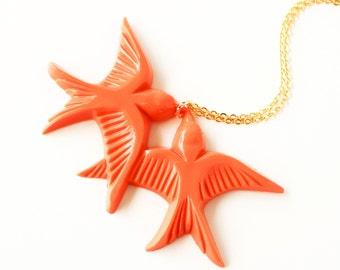 Tangerine orange resin swallow love birds gold necklace