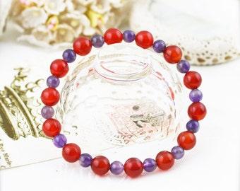 Confidence and charisma bracelet (unisex) -  carnelian and amethyst