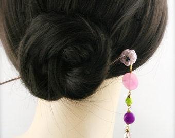 Guava blossom hair stick (HS) - jade and quartzite