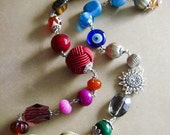 Boho chic multicolor beaded statement long necklace CLEARANCE