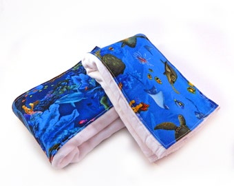 Ocean Burp Cloths - set of 2 Blue Green Dolphins Sea Turtles
