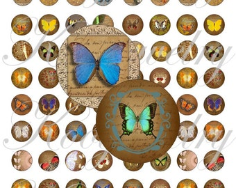 Romantic butterflies 18x18mm for pendant, , earrings, scrapbook and more Vintage Digital Collage Sheet No.1525