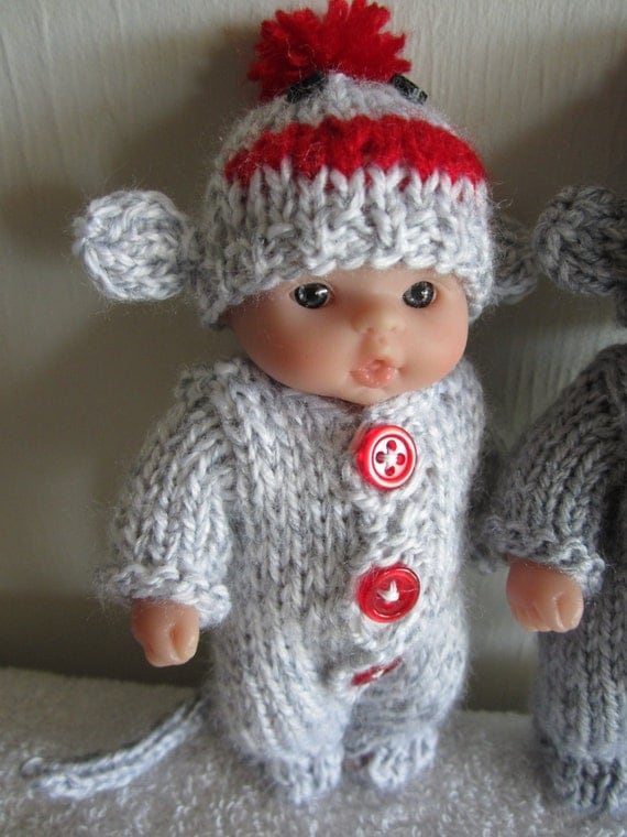 Knitting Patterns For Sock Monkey Clothes : Sock Monkey Knitting Pattern 5 Inch Chubby Lots to Love Berenguer Baby Dolls ...