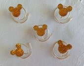MOUSE EARS Hair Swirls for Wedding in Dazzling Golden Amber Acrylic