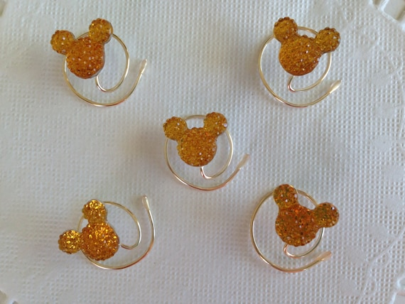 MOUSE EARS Hair Swirls for Themed Wedding in Dazzling Golden Amber Acrylic