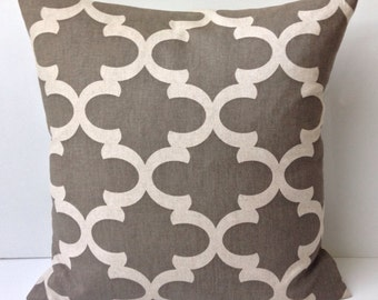 Decorative Throw Pillow Cover Lattice Accent Cushion Neutral Beige Stone