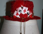 Alice in Wonderland Painted Roses Red Lace Mini Hat