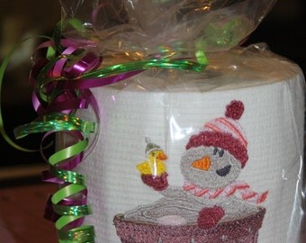Hers Snowman in a Tub Machine Embroidered Toilet Paper