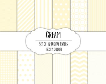 Cream White Digital Scrapbook Paper 12x12 Pack - Set of 12 - Polka Dots, Chevron, Gingham - Instant Download - Item# 8068