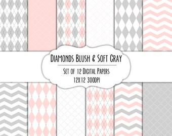 Blush Pink & Soft Gray Diamond Digital Scrapbook Paper 12x12 Pack - Set of 12 - Argyle, Diamonds - Instant Download - #8125