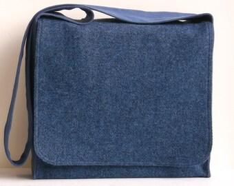 Blue Tweed Wool Large Messenger Bag