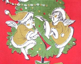 Vintage Towel Mid Century Christmas Angels Hilary Knight Eloise Illustrator